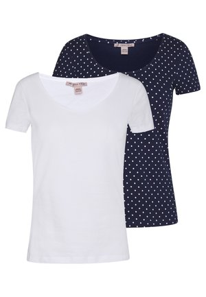 2ER PACK  - T-shirt print - navy/white