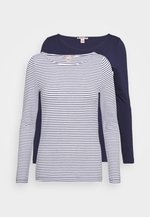 2 PACK - Long sleeved top - white/navy