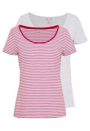 2 PACK - T-shirt print - white base/ chilli pepper stripes