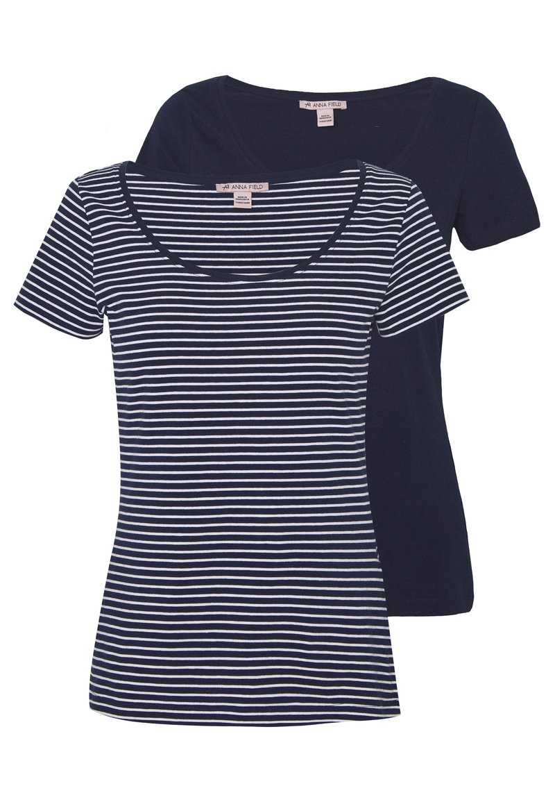Anna Field - 2 PACK - T-shirts med print - navy/white