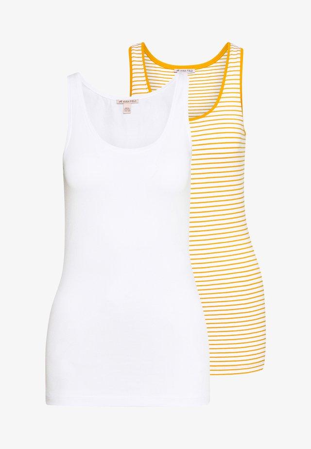 2 PACK - Top - white base/mustard/white