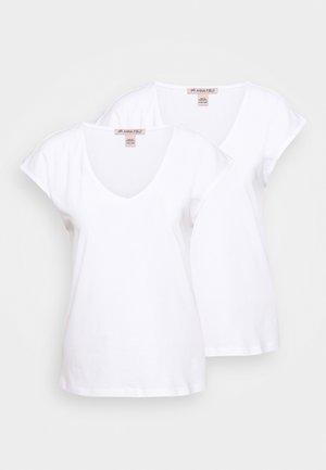 2 PACK - T-shirts - white/white