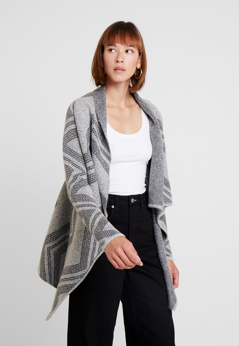 Anna Field - WATERFALL CARDIGAN ZIG ZAG - Strickjacke - light grey melange
