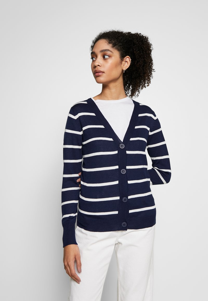 Anna Field - STRIPED CARDIGAN  - Cardigan - white/maritime blue