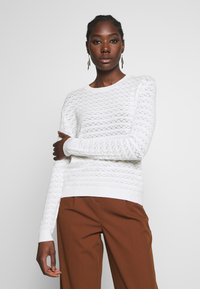 Anna Field - SUSTAINABLE OPENWORK JUMPER  - Strikkegenser - white - 0