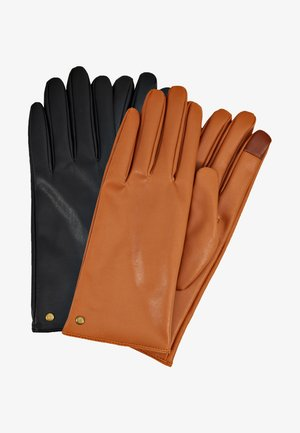 2 PACK - Gloves - black/cognac