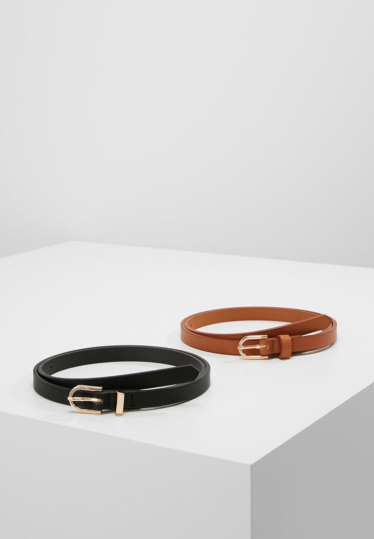 Anna Field - 2 PACK - Belt - black/cognac