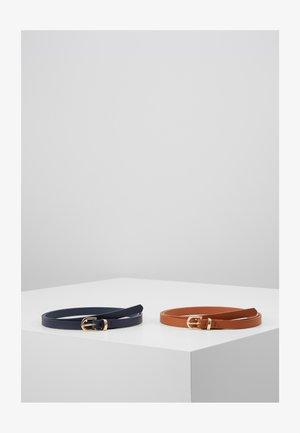 2 PACK - Belt - cognac/dark blue