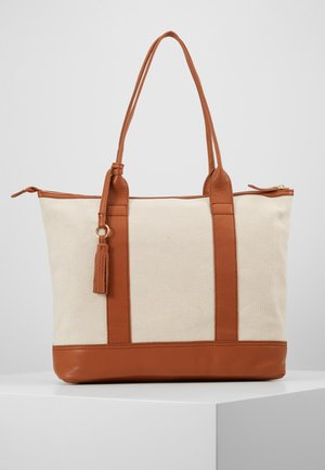 LEATHER/COTTON - Bolso shopping - cognac