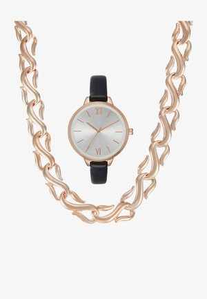 SET - Klocka - black/rose gold-coloured