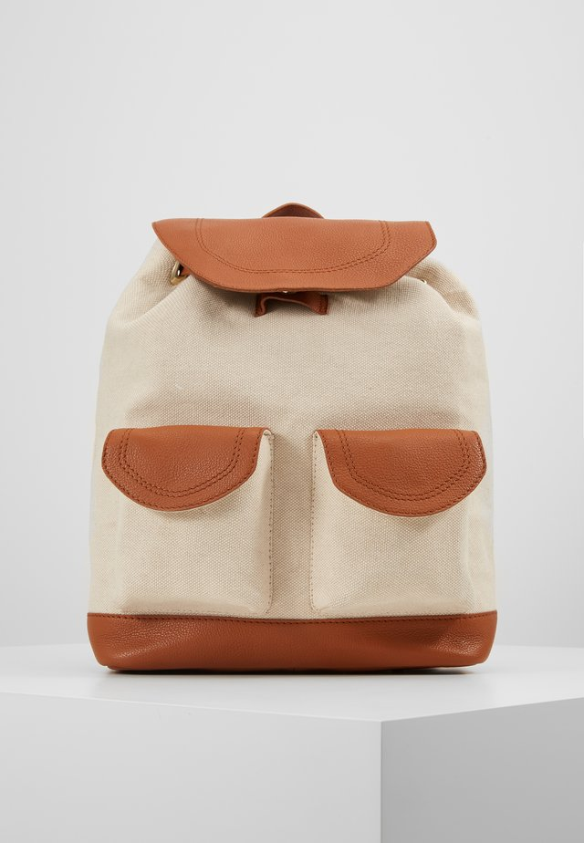 LEATHER/COTTON - Rucksack - cognac