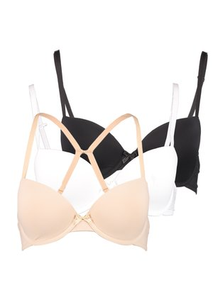 3 PACK - T-shirt bra - black/white/nude