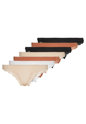 SAMIRA 7 PACK - Thong - black/white/tan