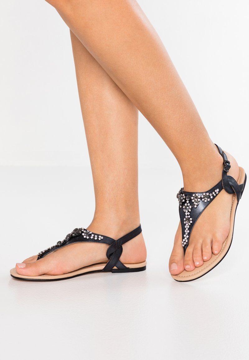Anna Field Select - LEATHER T-BAR SANDALS - Infradito - gunmetall