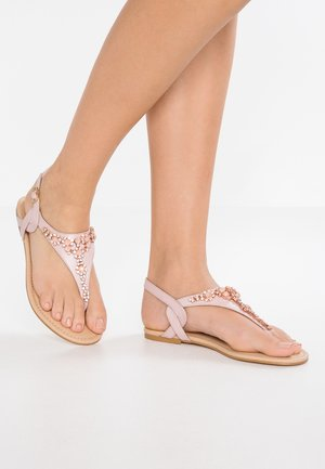 LEATHER T-BAR SANDALS - T-bar sandals - rose gold