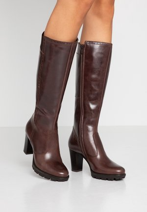 LEATHER PLATFORM BOOTS - Stivali con plateau - brown