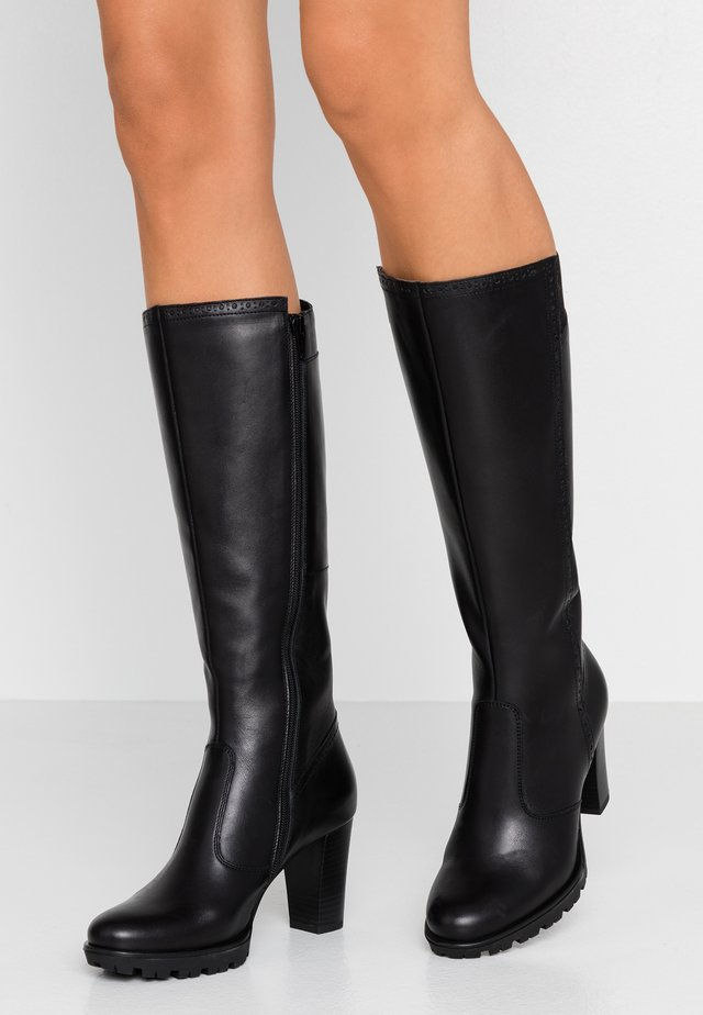 LEATHER PLATFORM BOOTS - Platåstövlar - black