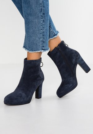 LEATHER HIGH HEELED ANKLE BOOTS - Bottines à talons hauts - dark blue