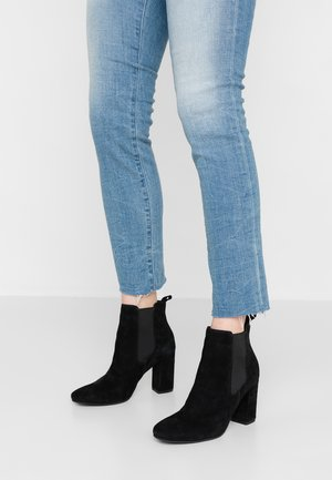 LEATHER HIGH HEELED ANKLE BOOTS - High heeled ankle boots - black
