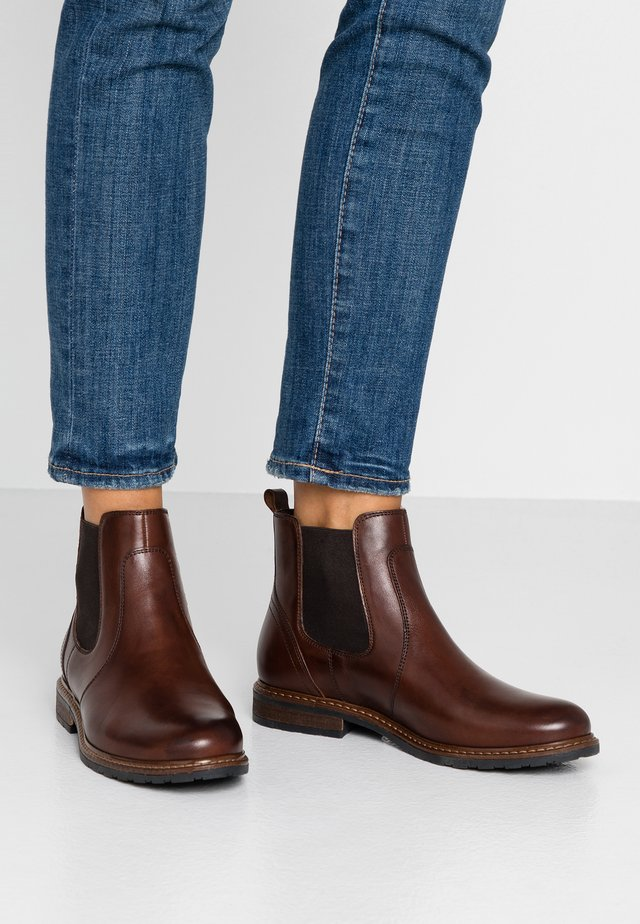 LEATHER ANKLE BOOTS - Ankelboots - cognac