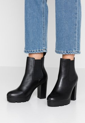 LEATHER HIGH HEELED ANKLE BOOTS - Højhælede støvletter - black