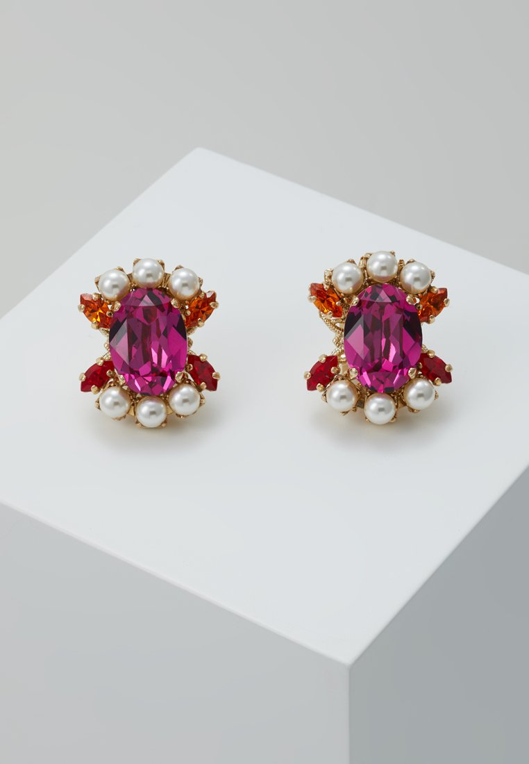 Anton Heunis - SMALL FUSCHIA CLUSTER EARRING - Ohrringe - gold-colored/pink