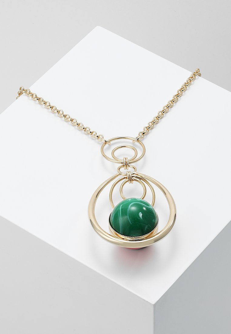 Anton Heunis - LONG OVAL PENDANT WITH SPHERE DOUBLE RINGS - Ketting - fuchsia/green
