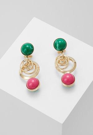 EARRING OMEGA CLASP DOUBLE RING WITH SPHERE - Korvakorut - fuchsia/green
