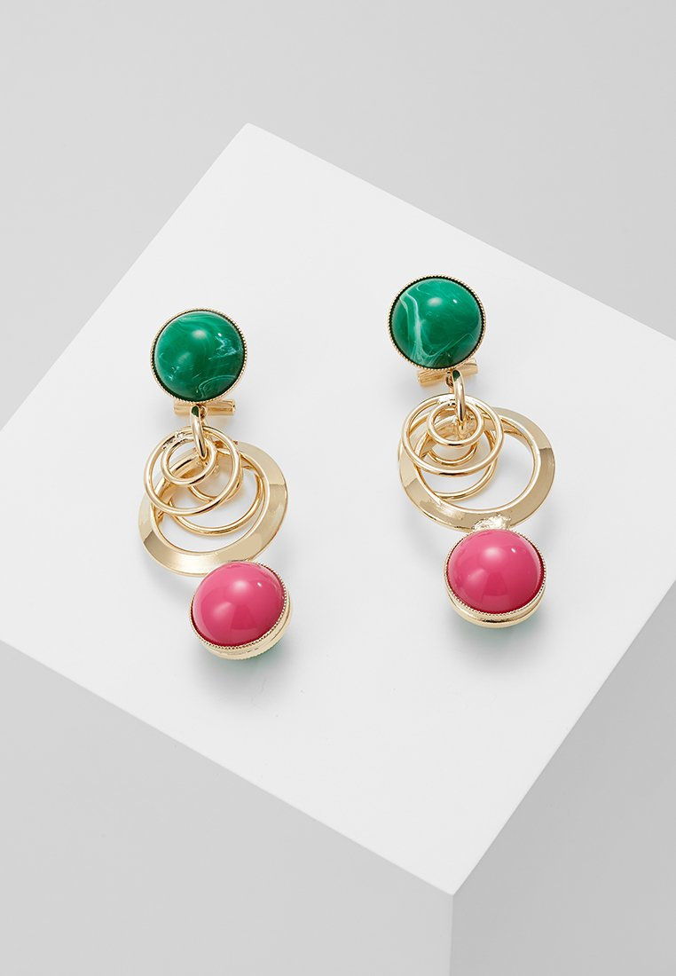 Anton Heunis - EARRING OMEGA CLASP DOUBLE RING WITH SPHERE - Korvakorut - fuchsia/green