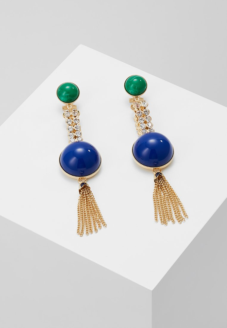 Anton Heunis - EARRING OMEGA CLASP HALF SPHERE WITH TASSEL - Korvakorut - blue/green/gold-coloured