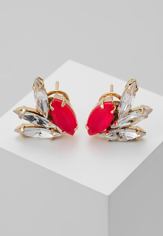 Earrings - neon pink/gold-coloured