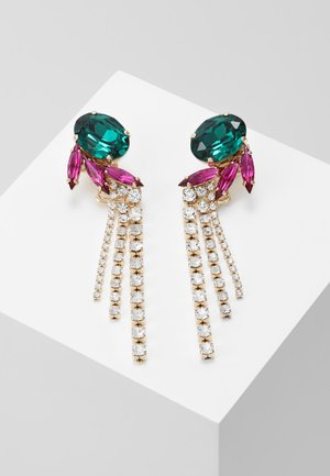 Earrings - green/fuchsia/gold-coloured