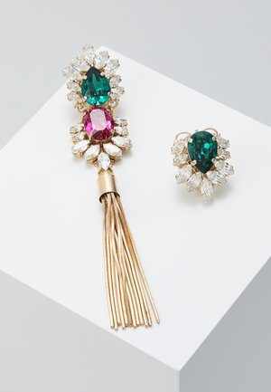 Earrings - green/fuchsia/gold
