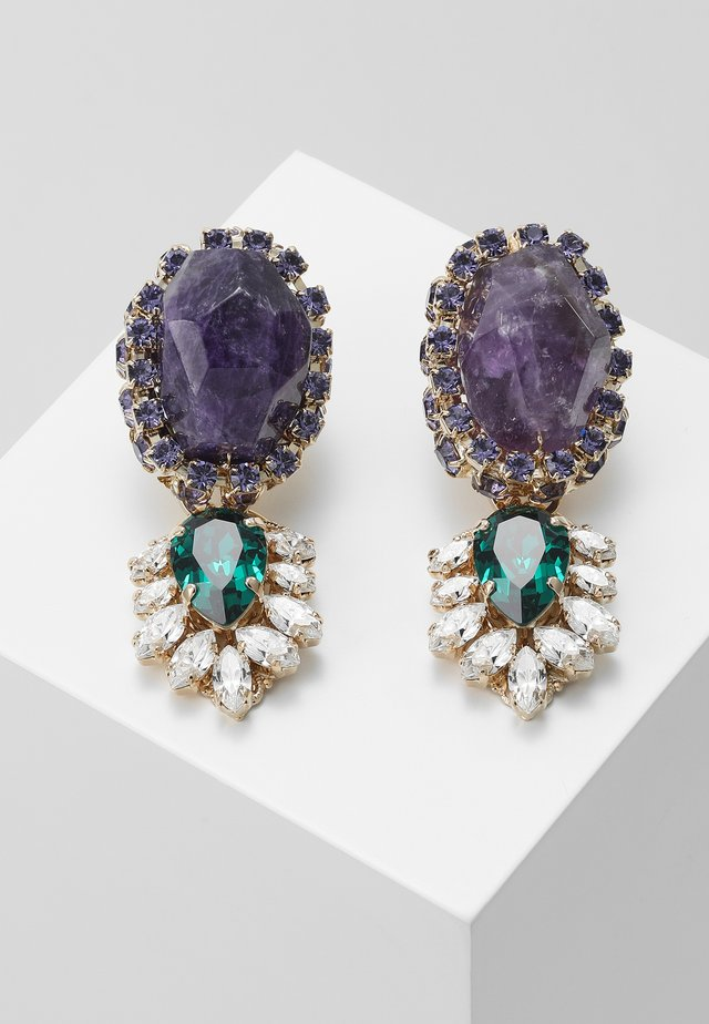 Earrings - purple/green/gold-coloured
