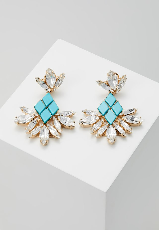 Earrings - turquoise/gold-coloured