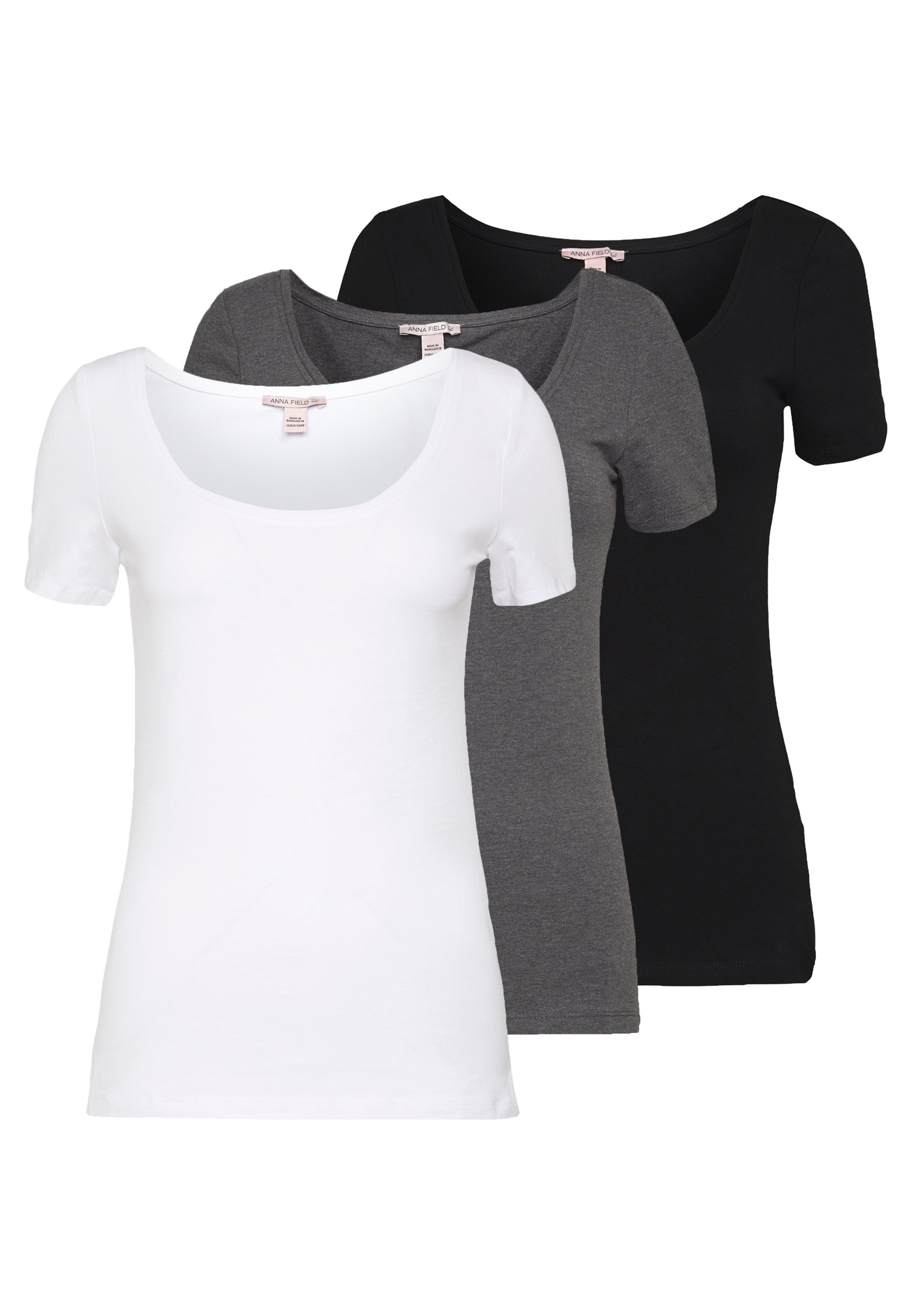 Anna Field Tall 3 PACK - T-shirt basic - white/black/dark grey