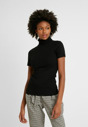 SHORT SLEEVE ROLL NECK - Camiseta estampada - black