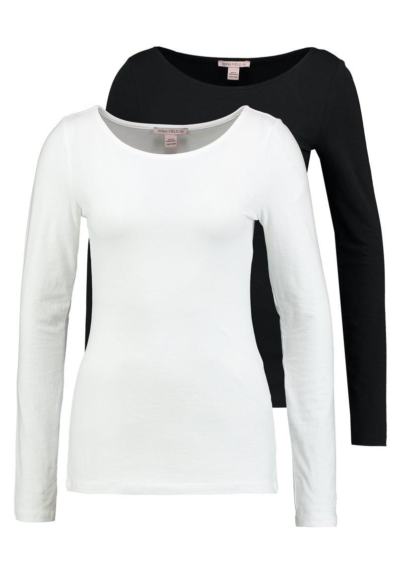 Anna Field Tall - 2ER PACK  - Top sdlouhým rukávem - black/white