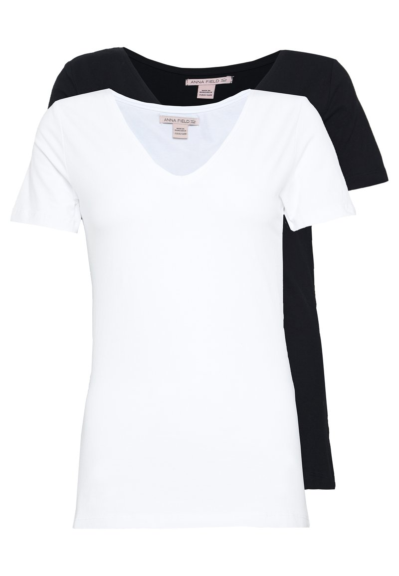 Anna Field Tall - 2 PACK  - T-shirts - black/white