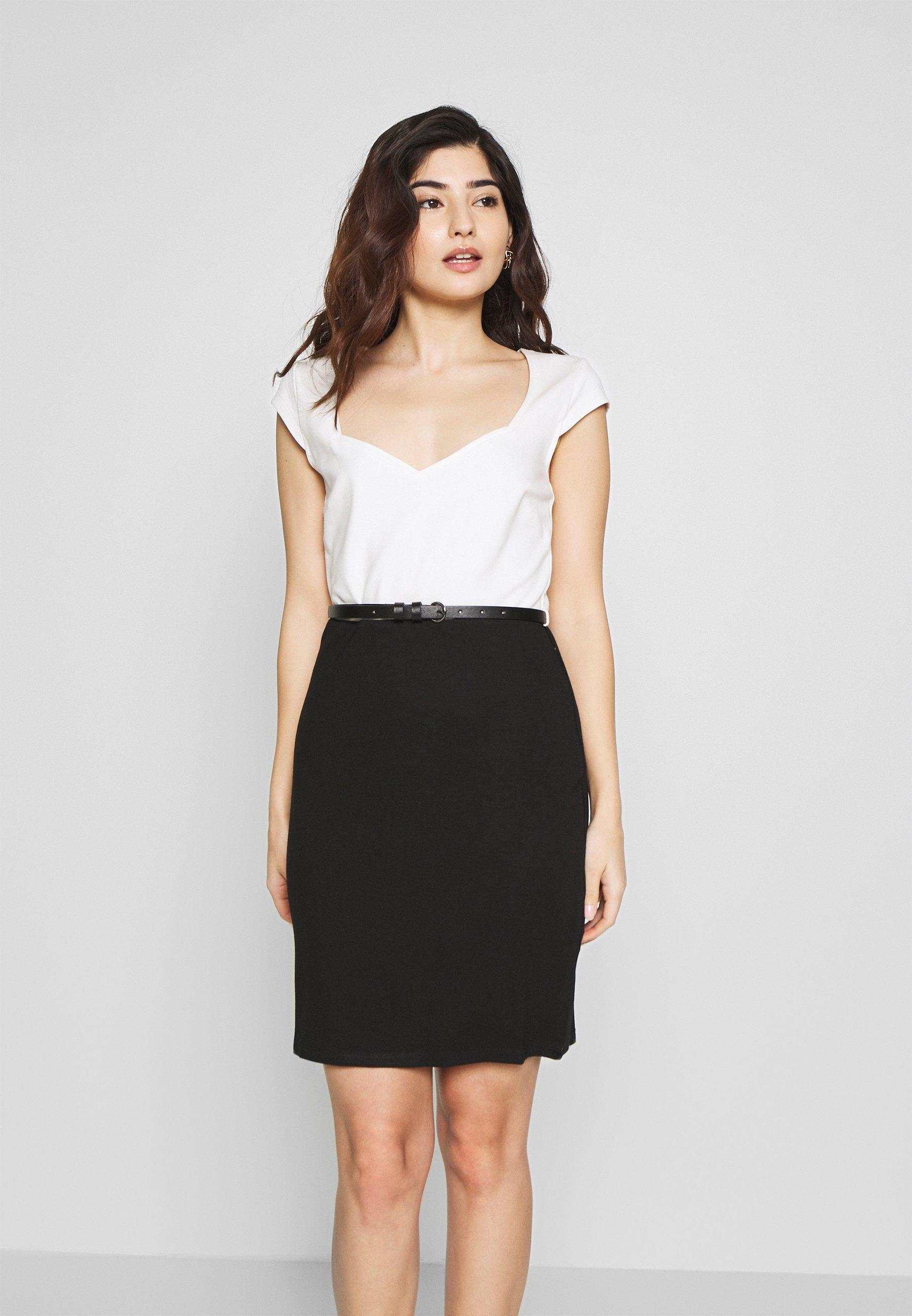 Anna Field Petite Shift dress - white/black