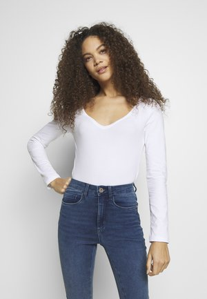 BASIC V NECK LONG SLEEVE TOP - Longsleeve - white