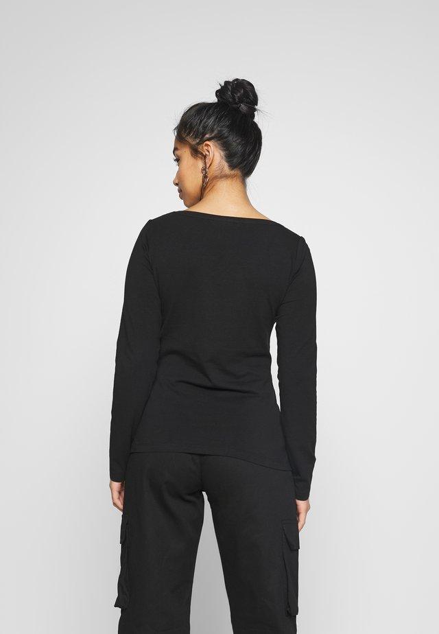 BASIC V NECK LONG SLEEVE TOP - Långärmad tröja - black