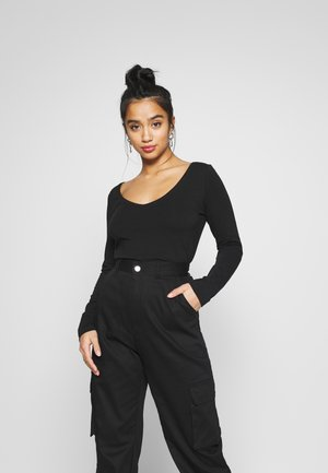 BASIC V NECK LONG SLEEVE TOP - Top s dlouhým rukávem - black