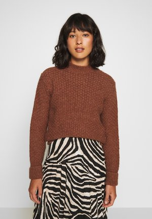STRUCTURE MOCK NECK  - Jumper - brown