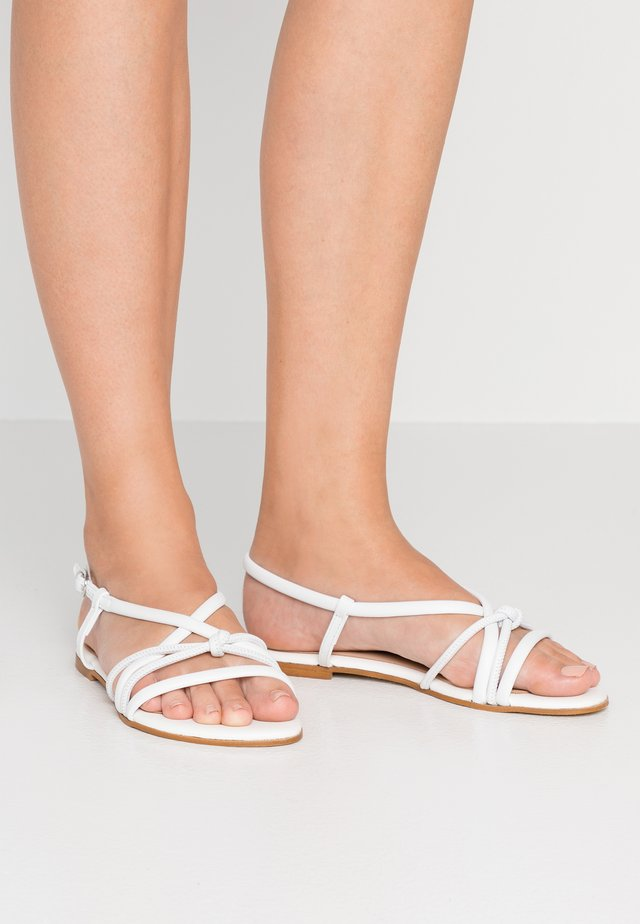 WIDE FIT LEATHER SANDAL - Sandals - white