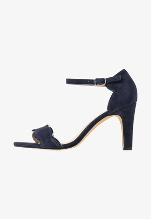 LEATHER - Sandali con tacco - dark blue