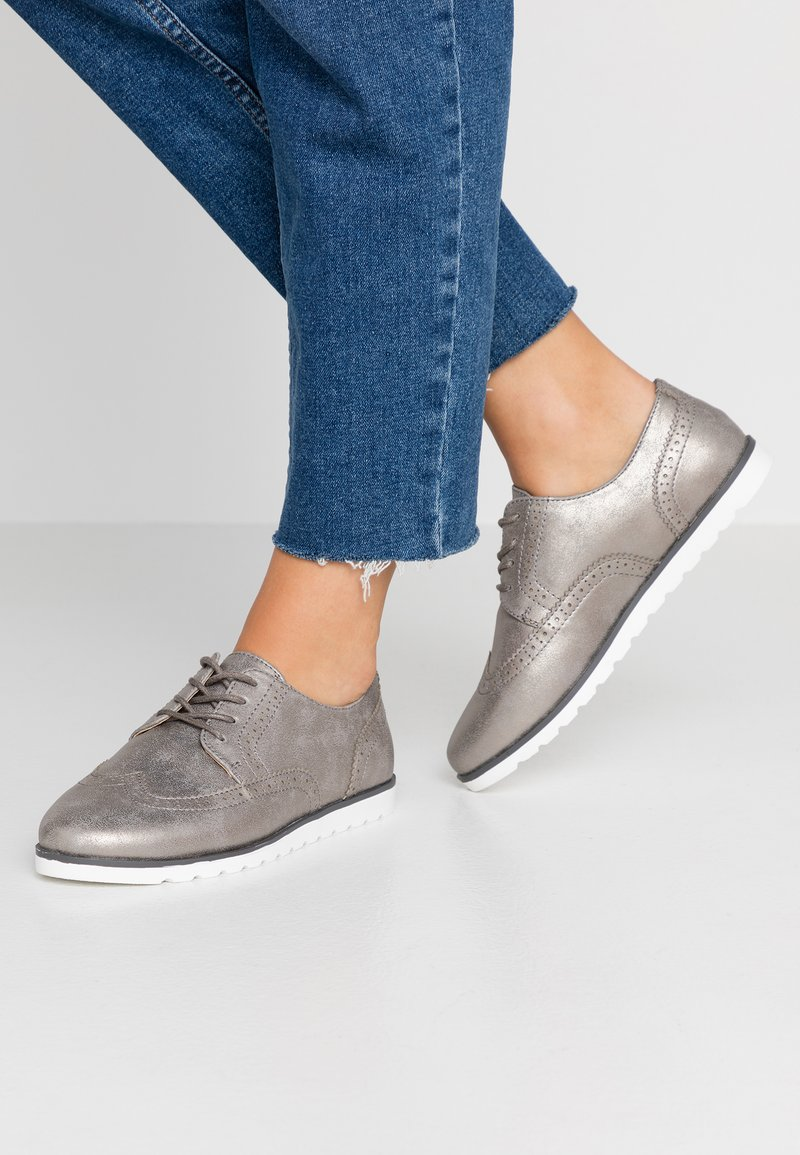 Anna Field Wide Fit - Chaussures à lacets - gunmetal