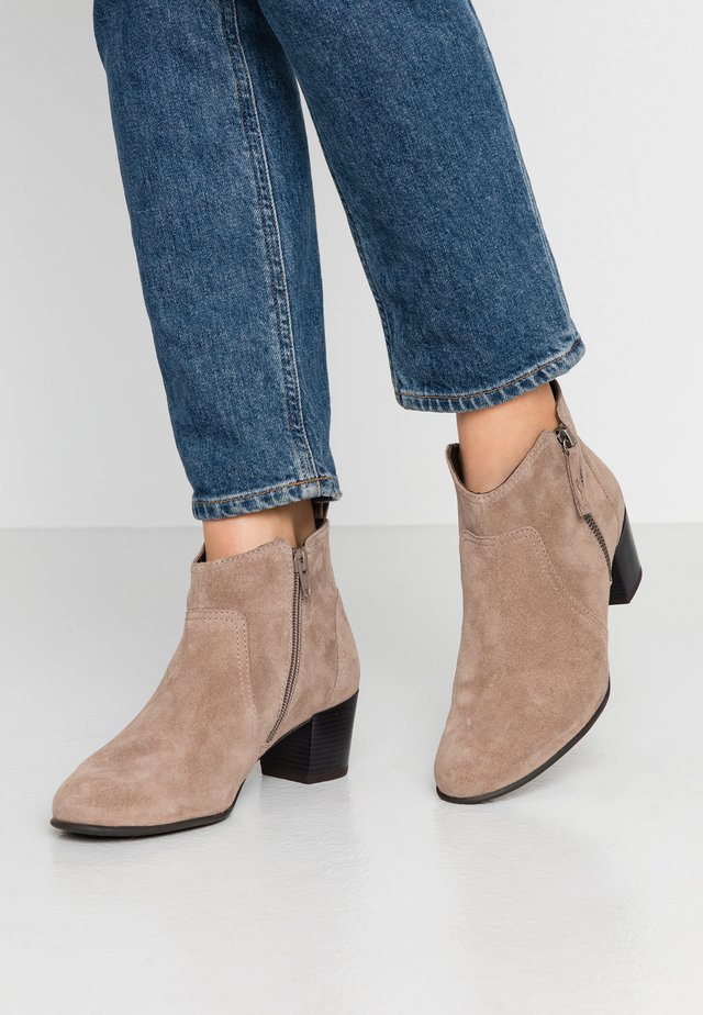 LEATHER BOOTIES - Ankle boots - taupe