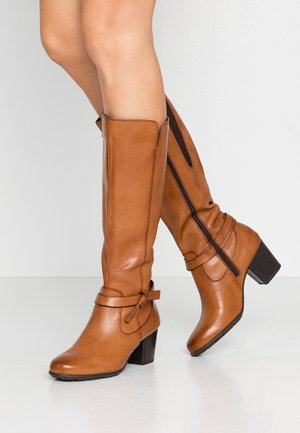 LEATHER BOOTS  - Botas - cognac