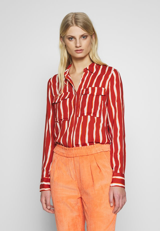 AURETTE STRIPE - Button-down blouse - burned orange